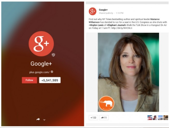marianne williamson googleplus hangout press
