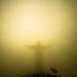 Cristo Redentor illuminated after a storm--Rio de Janeiro.