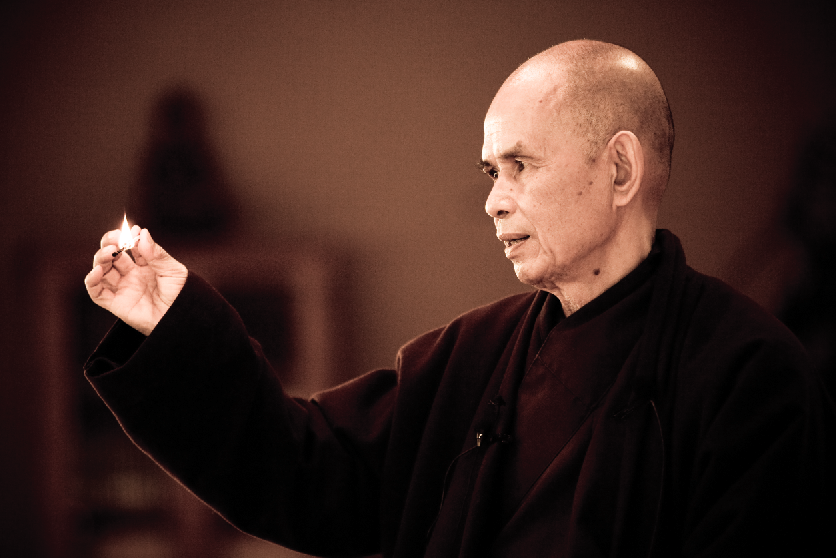 "Thich Nhat Hanh demonstrates that ""Nothing is born, and nothing dies."""