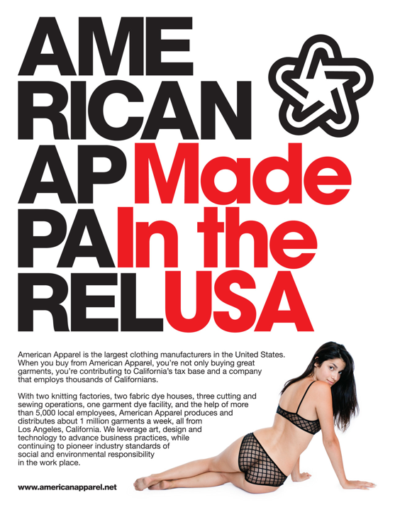 """american apparel"" made in usa ad"