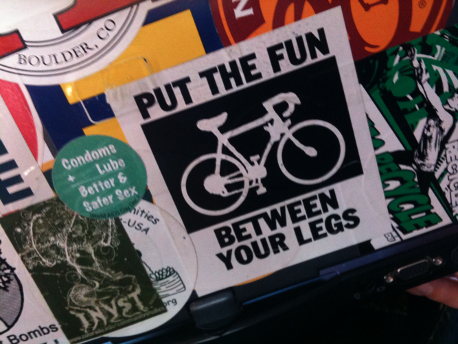 put the fun between your legs bicycle bumper sticker