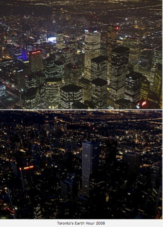 """""""earth hour"""" before after lights out city"""