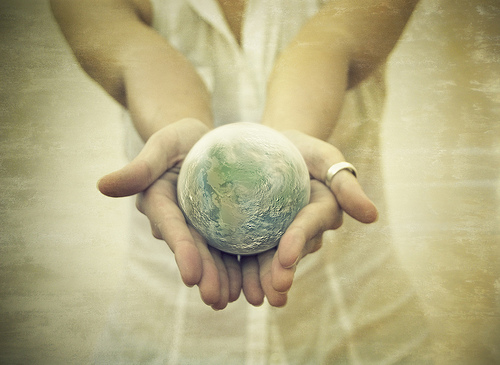 Holding the world.