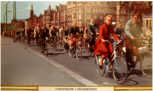 rush hour bike car bicycle
