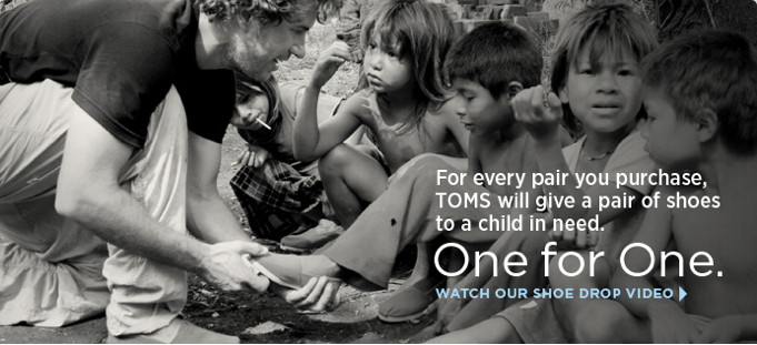 "toms shoes ""one for one"" children donate give"