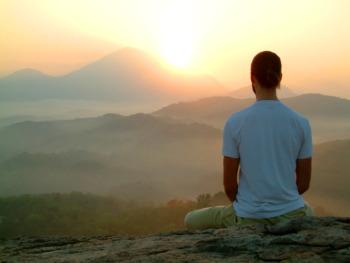 man meditates wp
