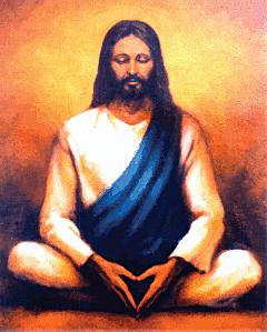 Jesus meditating--painting by Swami Tadatmananda, courtesy of the Vedanta Society, www.vedanta.org
