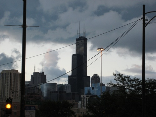 Willis Tower on a cloudy summer morning.