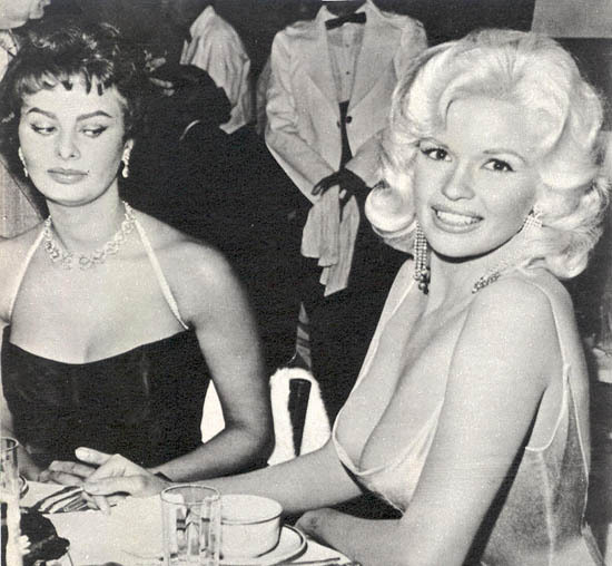 Jayne Mansfield and Sophia Loren at Romanoff's in Beverly Hills, c. 1958. © 1978 Joe Shere