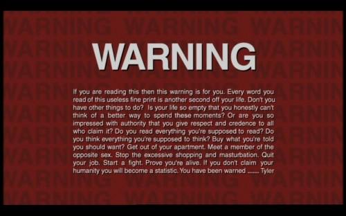 warning fight club tyler