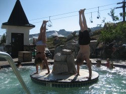 Handstand in a hot tub