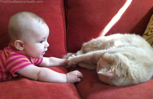 baby makes friends with cat