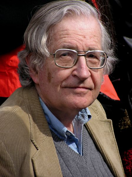 A portrait of Noam Chomsky in Vancouver Canada.
