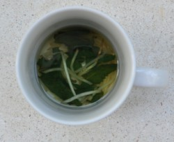 Ginger and Mint in hot water, i.e. herbal tea