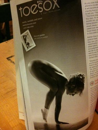 toesox ad in Yoga Journal February 2012
