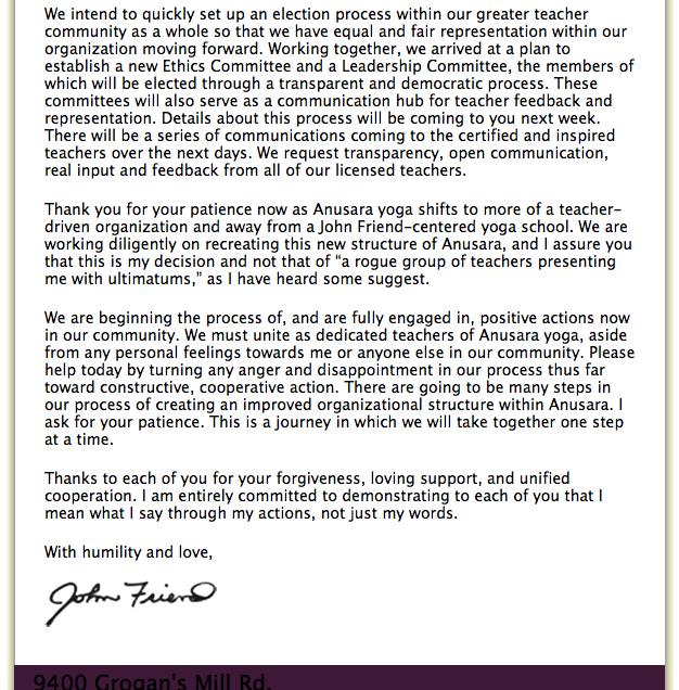 Letter To Yoga Teacher