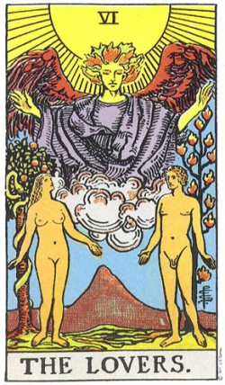 The Lovers from the Rider-Waite-Smith tarot deck