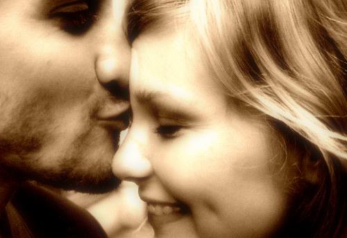 couple kiss smile