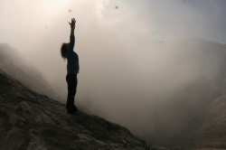 Mountain pose on mount Bromo