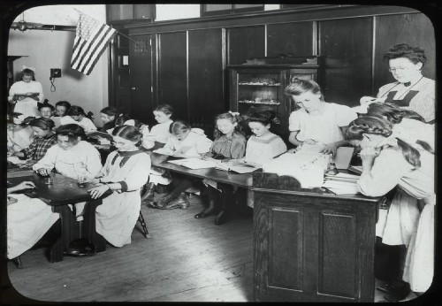 Girls in classroom, Traveling Library at Public School Playg...
