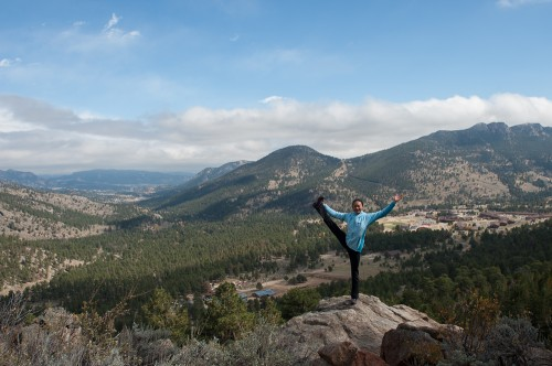 Olivia Hsu overlooking the beauty of Estes Park and the YMCA