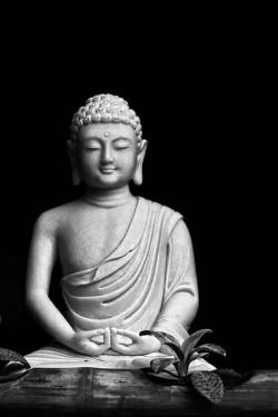 black and white Buddha