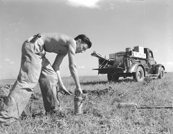 [Worker placing explosives in ground for seismic testing, Seismic Explorations, Inc.]