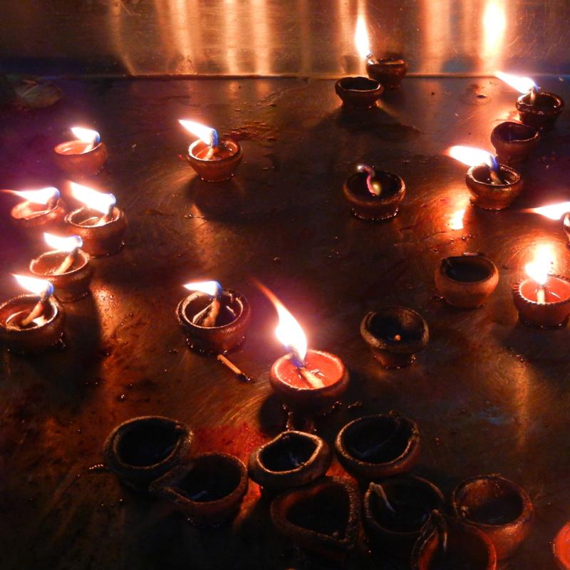 Ghee Lamps at Meenaksi Temple, Madurai
