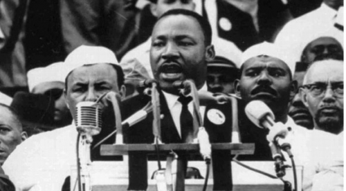 Dr. Martin Luther King Jr. addresses marchers at the Lincoln Memorial on Aug. 28, 1963.