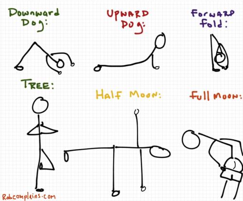 A yoga cartoon by Rob Pollak