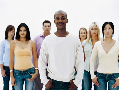 portrait of a group of people standing together