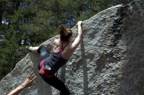 sophia's first bouldering heel hook