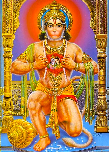 Hanuman revealing Sita and Ram united in his heart