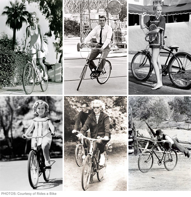 Rides bicycle