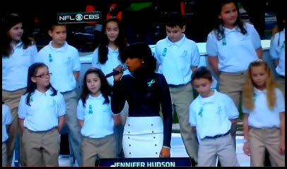 sandy hook kids sing at super bowl Tonight's pregame ended with jennifer hudson and the sandy hook elementary school choir singing america the beautiful directly prior to alicia keys's star-spangled banner the kids had quite a large stadium to fill and did the job admirably watch it again to get the taste of all the weird super.