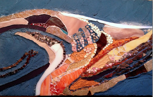 Mosaic of glass, smalti and slate, based on an aerial image of the BP oil spill in 2010.  Created by Laura.