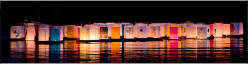 Handmade lanterns float on the bay at Berkeley's annual Peace Lantern Ceremony, in remembrance of the U.S. bombing of Hiroshima. I helped coordinate the event in 2005.