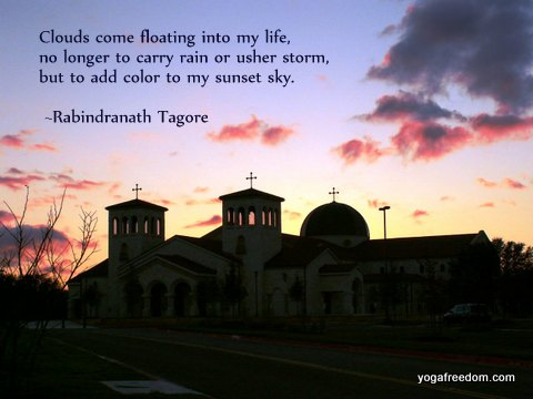 sunset sky with quote