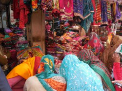 Sari stall in the marketplace.