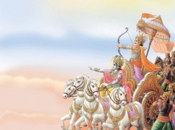 Arjuna and Krishna on chariot in the Mahabharata