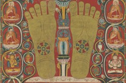 Thangka with the Footprints of the Third Karmapa - Detail