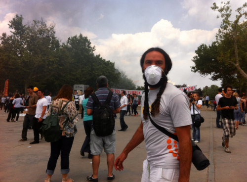 Leaving Gezi Park practice with mat on my back, a mask on my face, my braids still intact and love in my heart!