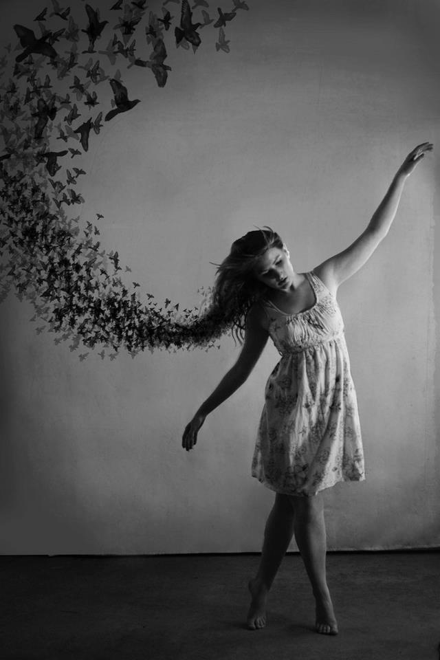 release, dance, girl, bird, flight, movement