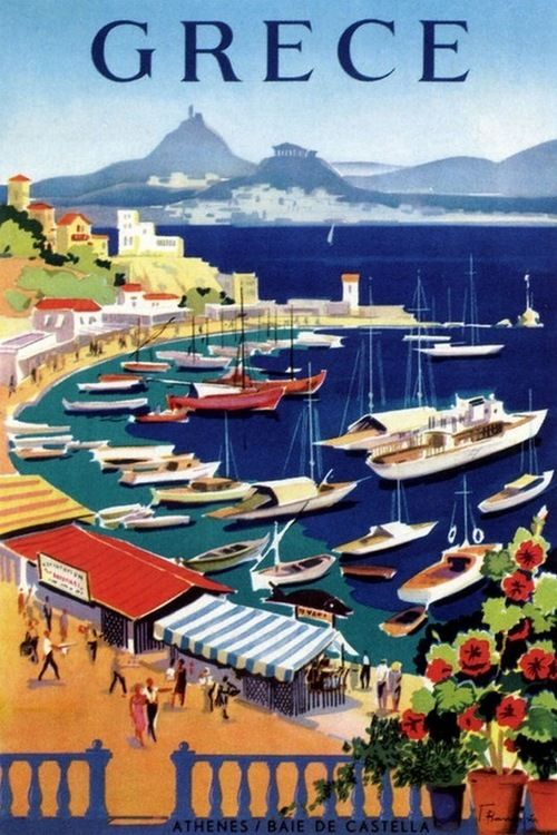 greece travel poster vintage love
