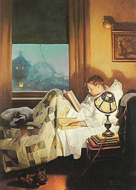 norman rockwell boy reading book home