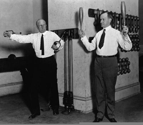 Calvin Coolidge and Speaker of the House Frederick Gillett exercise in the Congressional Gym ca. 1923.
