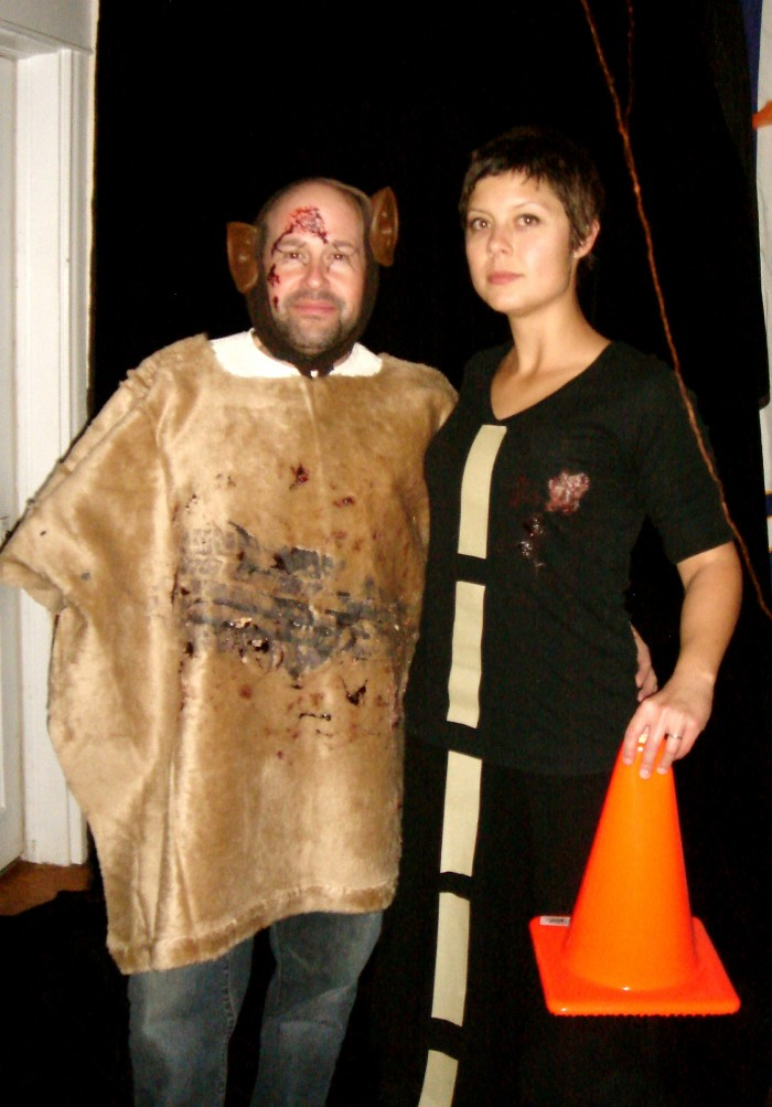 """""""Road and Road Kill.""""  Heather and her exceeding tolerant husband."""