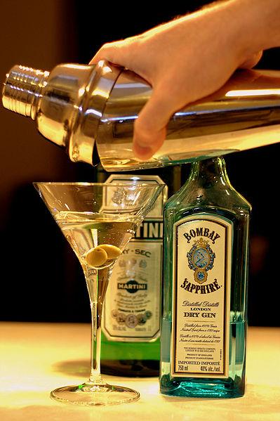 Pouring Gin Martini