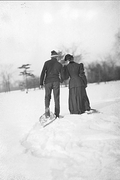 couple snowshoeing snow winter old picture