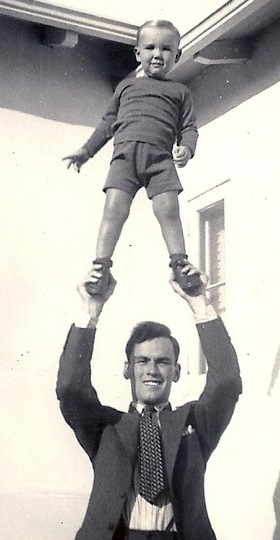 My grandfather Robert Biller, holding up my father, Les Biller in Los Angeles, California
